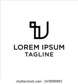 initial letter logo IU, UI, logo template