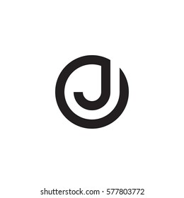 initial letter logo j inside circle shape, oj, jo, j inside o rounded lowercase black monogram