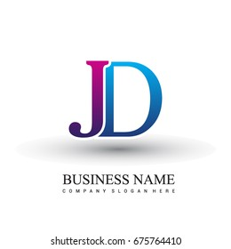 initial letter logo JD colored red and blue, Vector logo design template elements for your business or company identity