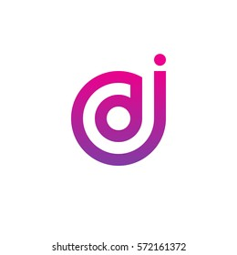 initial letter logo jd, dj, d inside j rounded lowercase purple pink