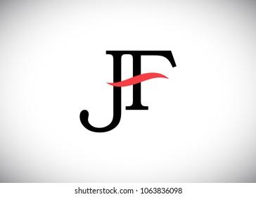 initial letter logo JF, FJ, logo template
