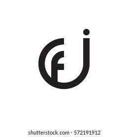 initial letter logo jf, fj, f inside j rounded lowercase black monogram