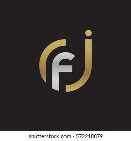 initial letter logo jf, fj, f inside j rounded lowercase logo gold silver