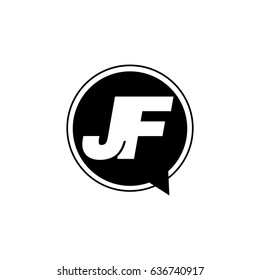 Initial letter logo jf inside speech bubble black