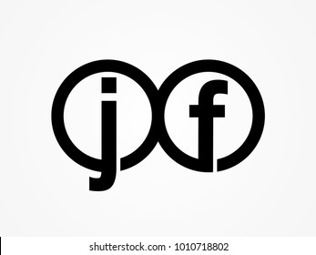 Initial letter logo jf lowercase related in circles black