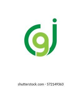 initial letter logo jg, gj, g inside j rounded lowercase green flat