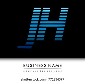 initial letter logo JH colored blue with striped compotition, Vector logo design template elements for your business or company identity