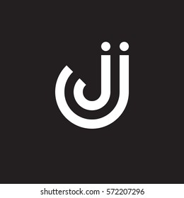 initial letter logo jj, j inside j rounded lowercase white black background