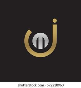initial letter logo jm, mj, m inside j rounded lowercase logo gold silver