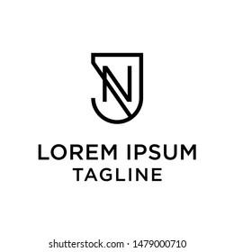 Initial letter logo JN, NJ, logo template
