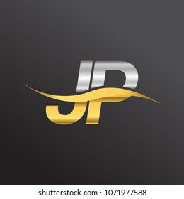 initial letter logo JP company name gold and silver color swoosh design. vector logotype for business and company identity.