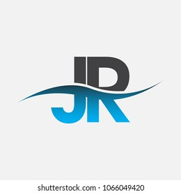 Initial letter logo JR company name blue and black color swoosh design. vector logotype for business and company identity.