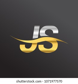 initial letter logo JS company name gold and silver color swoosh design. vector logotype for business and company identity.