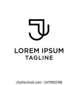 Initial letter logo JU, UJ, logo template