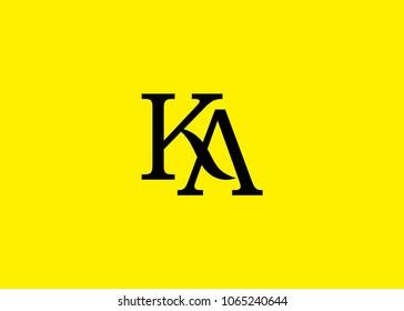 initial letter logo KA, AK, logo template