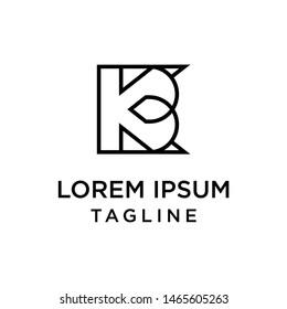 initial letter logo KB, BK logo template
