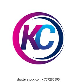 initial letter logo KC company name blue and magenta color on circle and swoosh design. vector logotype for business and company identity.