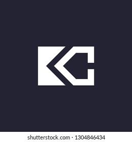 Initial letter logo KC, logo template