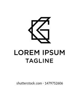 initial letter logo KG, GK logo template