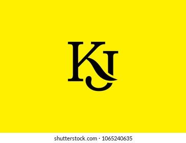 initial letter logo KJ, JK, logo template