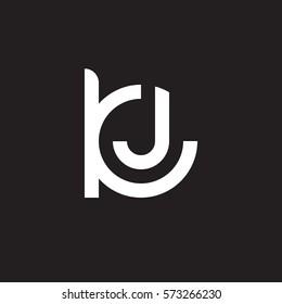 initial letter logo kj, jk, j inside k rounded lowercase white black background