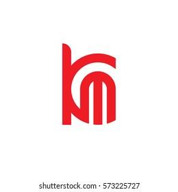initial letter logo km, mk, m inside k rounded lowercase red flat