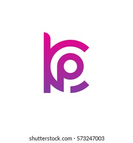 initial letter logo kp, pk, p inside k rounded lowercase purple pink