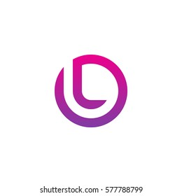 initial letter logo l inside circle shape, ol, lo, l inside o rounded lowercase purple pink