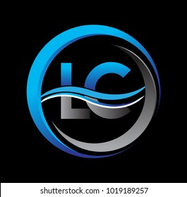 initial letter logo LC company name blue and grey color on circle and swoosh design. vector logotype for business and company identity.