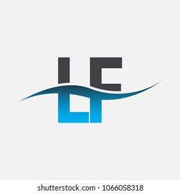 Initial letter logo LF company name blue and black color swoosh design. vector logotype for business and company identity.