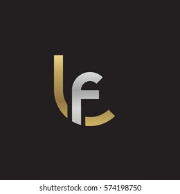 initial letter logo lf, fl, circle rounded lowercase logo gold silver
