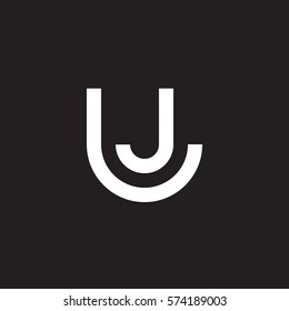 initial letter logo lj, jl, circle rounded lowercase white black background