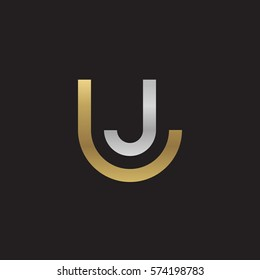 initial letter logo lj, jl, circle rounded lowercase logo gold silver