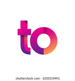 Initial Letter TO Logo Lowercase, magenta and orange, Modern and Simple Logo Design.