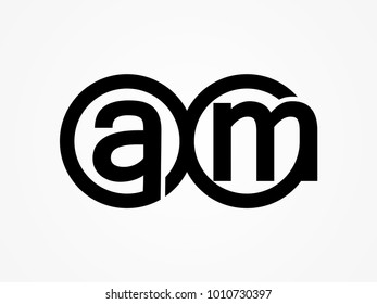 Initial letter logo am lowercase related in circles black