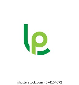 initial letter logo lp, pl, circle rounded lowercase green flat