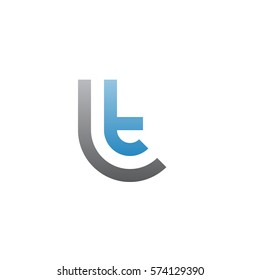 initial letter logo lt, tl, circle rounded lowercase blue gray