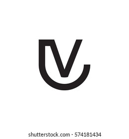 initial letter logo lv, vl, circle rounded lowercase black monogram