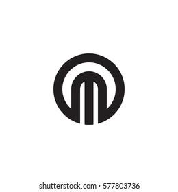 initial letter logo m inside circle shape, om, mo, m inside o rounded lowercase black monogram