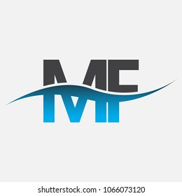 Initial letter logo MF company name blue and black color swoosh design. vector logotype for business and company identity.