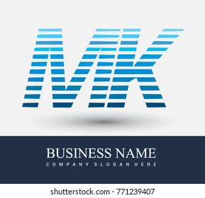 initial letter logo MK colored blue with striped compotition, Vector logo design template elements for your business or company identity