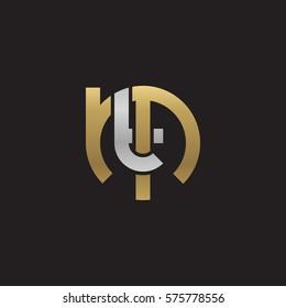 initial letter logo mt, tm, t inside m rounded lowercase logo gold silver