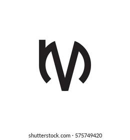 initial letter logo mv, vm, v inside m rounded lowercase black monogram