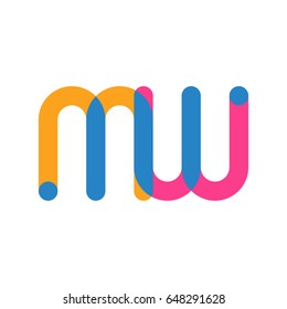 Initial letter logo MW overlapping round line, yellow blue magenta