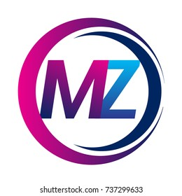 initial letter logo MZ company name blue and magenta color on circle and swoosh design. vector logotype for business and company identity.