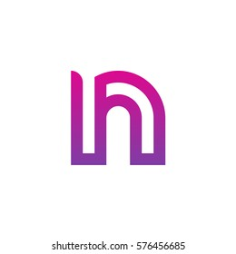 initial letter logo nh, hn, h inside n rounded lowercase purple pink
