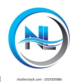 initial letter logo NL company name blue and grey color on circle and swoosh design. vector logotype for business and company identity.