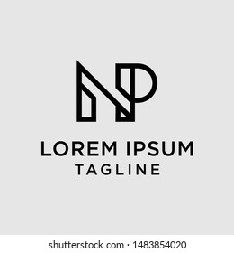initial letter logo NP, PN, logo template
