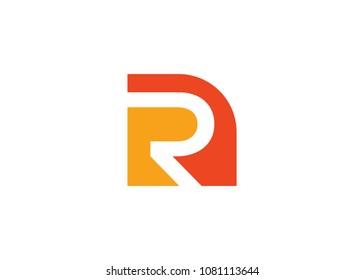 Initial letter logo NR, RN, R inside N, logo template
