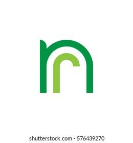 initial letter logo nr, rn, r inside n rounded lowercase green flat